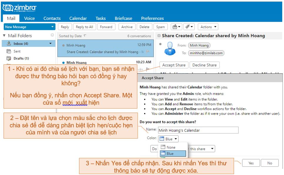 Zmail - thu nhan chia se lich