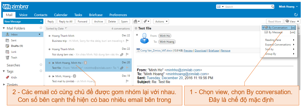 Zmail - View mail